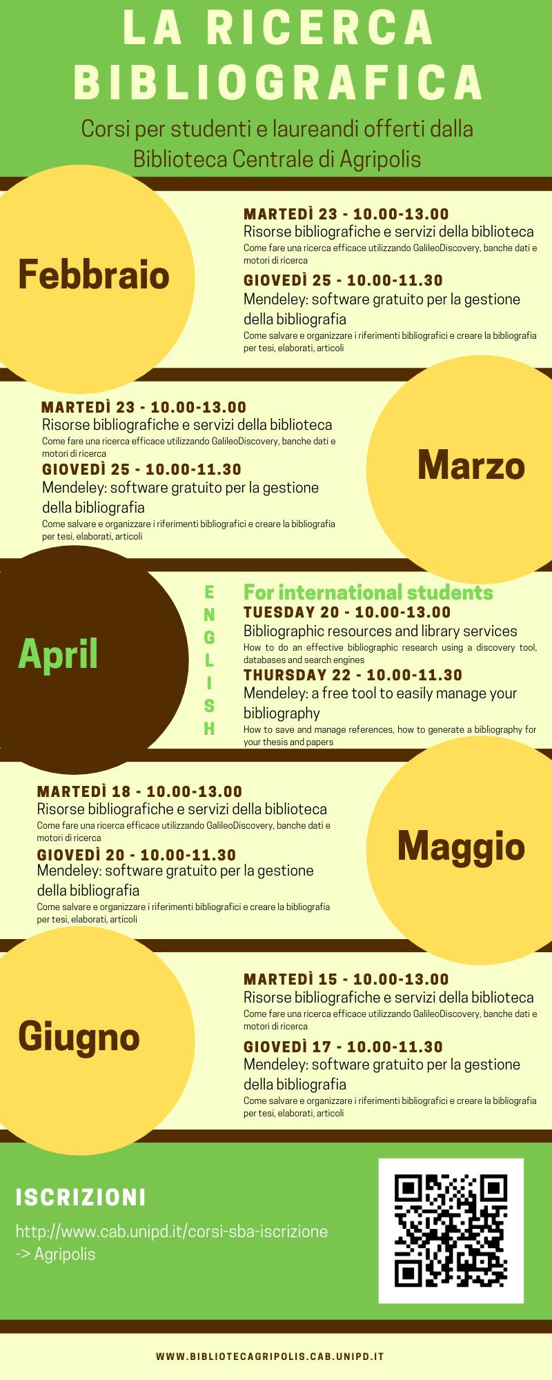 Calendario corsi di formazione 2021